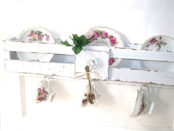 RESERVED LINDA Shabby CHic WHite Shelf Rack Romantic Cottage Decor. Tea Party TIme. Altered Pew Hymn Holder