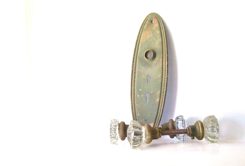Vintage Glass Door Knob Set. Pressed Glass Door Knob Set.