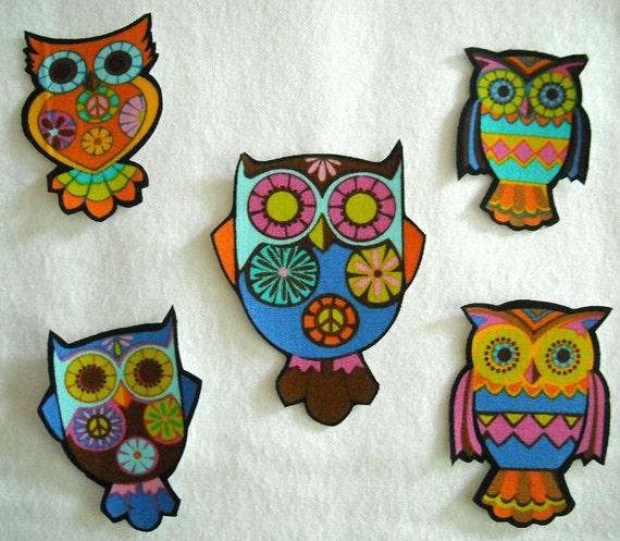 SALE! 10 Pc Retro Owls Peace Sign No Sew Iron On Appliques Cotton Patches