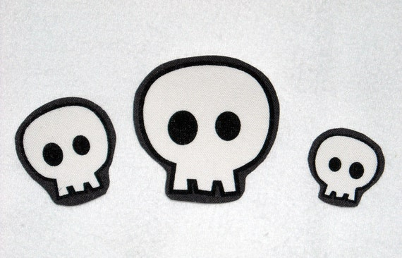 Set of 3 Skulls Halloween No Sew Iron On Appliques