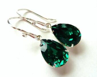 Emerald Green Crystal Earrings, Swarovski Rhinestone Pear Earrings, Sterling Silver Earrings, May Birthstone, Fashion