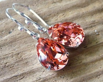 Peach Rose Crystal Earrings, Swarovski Rhinestone Pear Earrings, Sterling Silver Earrings, Bridal Earrings, Bridesmaid Gifts, Wedding