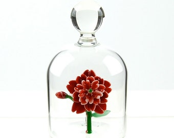 Glass Flower in a Jar - Red with white tips