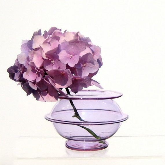 Hand Blown Glass Vase, Lilac Bud Vase