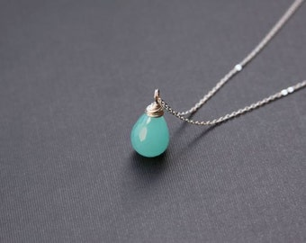 Luxe Aqua Chalcedony Necklace, Peruvian Chalcedony, Sterling Silver, Wire Wrapped