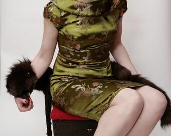 1960s brocade evening sheath dress