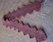 Hand Knitted Scarf in Cherry Blossom Pink Wool in a Diamond pattern