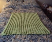 Hand Knit Baby Blanket in the color of Pistachio Beautiful Hand Knitted Textured