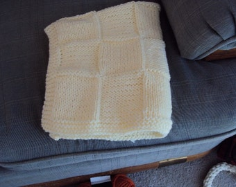 Hand Knit Baby Blanket in Antique White Block pattern