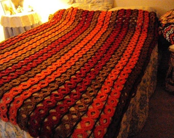 Crochet Bed Blanket or Afghan in the colors of Tangerine, Toast, Paprika, and Chocolate with Rings Rings everywhere