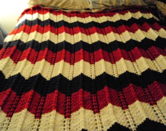 Hand Knitted Triple Wave with Classic Chevron knit In Red White and Blue Afghan / Blanket
