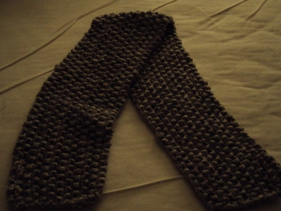 Hand Knit Scarf Wool Blend in Mable Grey for a Child