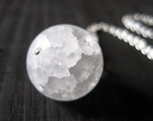 White Snow Ball Crackle Quartz Sphere Necklace, Winter Jewelry, Stocking Stuffer