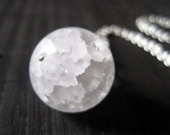 Snow Globe Necklace, Crackle Quartz Sphere Pendant, Snowball Necklace, Frosted Quartz Pendant, Snow Ball Pendant, Single Stone, Xmas in July