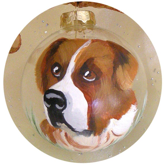 St. Bernard Dog Hand Painted Ornament ~ Christmas Gift ~ Pet Keepsake ~ Dog Ornament ~ Trending Items