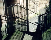 Shadow lines Photography linear horror scared dark stairs steps halloween all hallows evil 13th - Don't go down there - fine art photograph