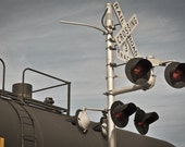 Train travel Photography railroad Norfolk Southern steel railway rail america red freight cross country - The crossing lights - fine art pic