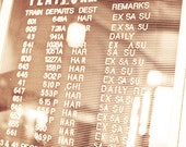 Train schedule Photography sepia letters PA times holiday travel family billboard transit - A passenger who belonged - fine art photo