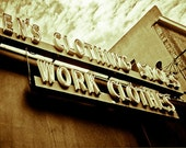 Store Front sign Photography american southwest western sepia sign clothing blue collar vintage - Stand proud - fine art photograph
