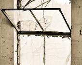 Rustic industrial Photography broken glass shattered pane beige barn cattle cow rusty pane farm - Window into the world - fine art photo