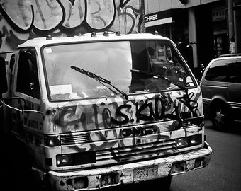 City life Photography urban delivery truck NYC graffiti tags gangs black white kids street moving mark - Billboard - fine art photograph