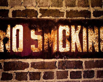 Rustic sign Photograph warning rust red white shop blue collar brick aged worn USA letters industrial - No Smoking - panoramic photograph