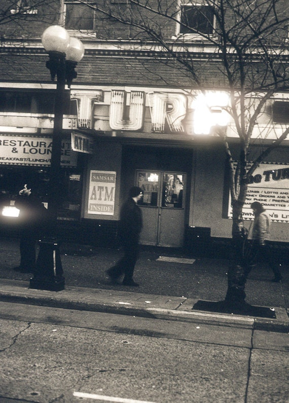 Street scene Photograph gang war outsider tough guy seattle large wall art neon T U R F confrontation - This is my turf. - fine art photo