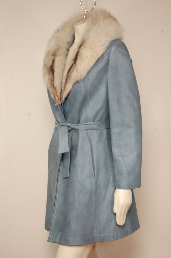 Vintage Pastel Blue Leather Coat with Fox Fur Collar