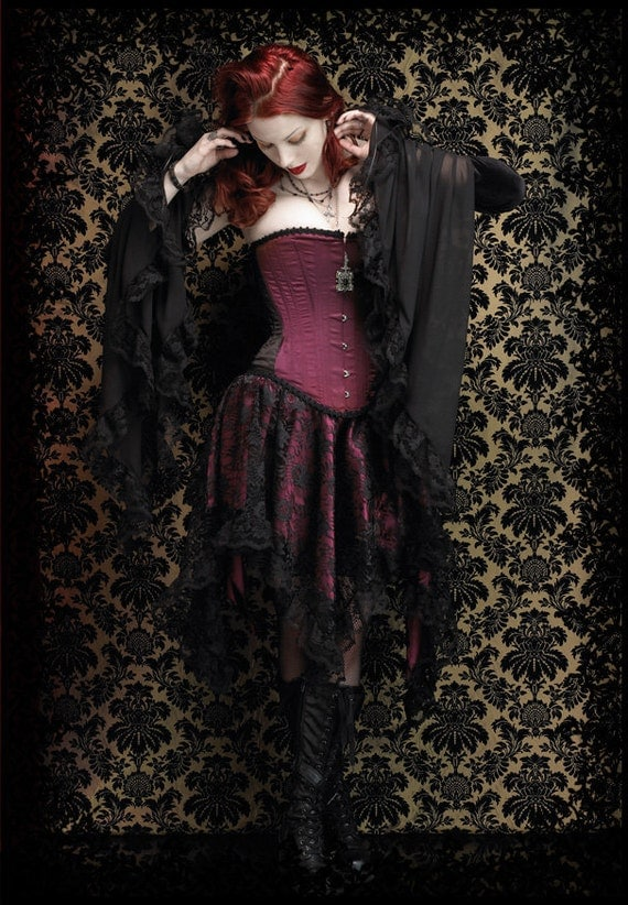 Celcia Gothic Fairy Skirt in Lace Over Satin - Fairy Tale Romantic Wedding Skirt Handmade- Witch Pointy Skirt