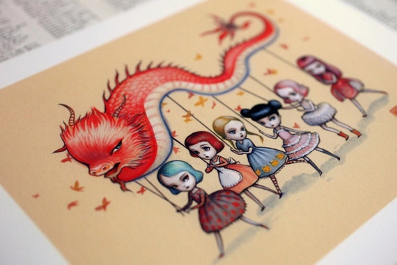 LAST ONE - The Dragon Dancers - Signed Limited Edition  8x10  Fine Art Print - by Mab Graves - unframed