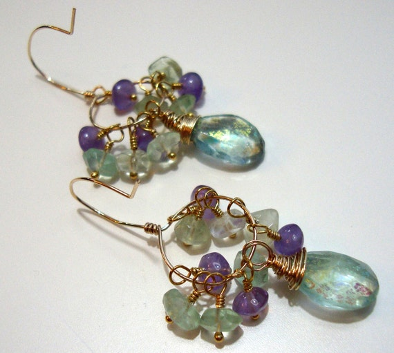 OOAK Fluorite & Light Amethyst Vintage Modern Wrapped Gold Earrings Luxe Jewelry Wedding Bride
