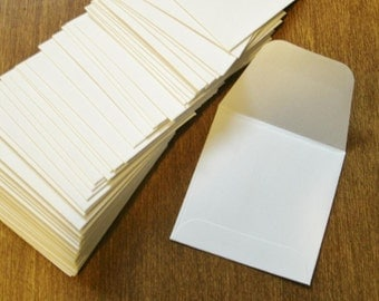 White mini envelopes, set of 50 two inch square envelopes
