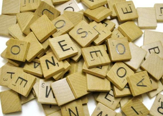 1953 Wood Scrabble tiles set of 100 vintage tiles