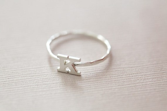 stackable initial ring, monogram ring, dainty ring -  sterling silver