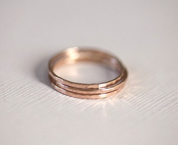 stackable rings, rose gold rings, skinny rings - 3 rose gold filled hammered rings, everyday rings