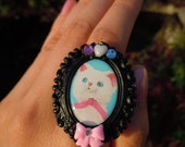 SALE and 100% DONATION to AHA // Proud Kitten Large Cameo Ring
