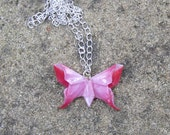 Origami Butterfly Pendant - Red, Pink and White