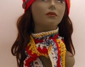On Sale Crochet Red, White,Yellow And Turquoise Hat and Scarf Set