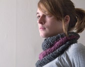 Plum Purple and Grey Color Block Cowl / Neck Warmer / Scarf