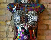 """mannequin mosaic tile wall art """"Perky Woman"""" a tiled hard plastic hollow shirt form to hang and admire for years to come"""