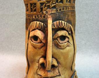 Sculpted Face Pot Vase