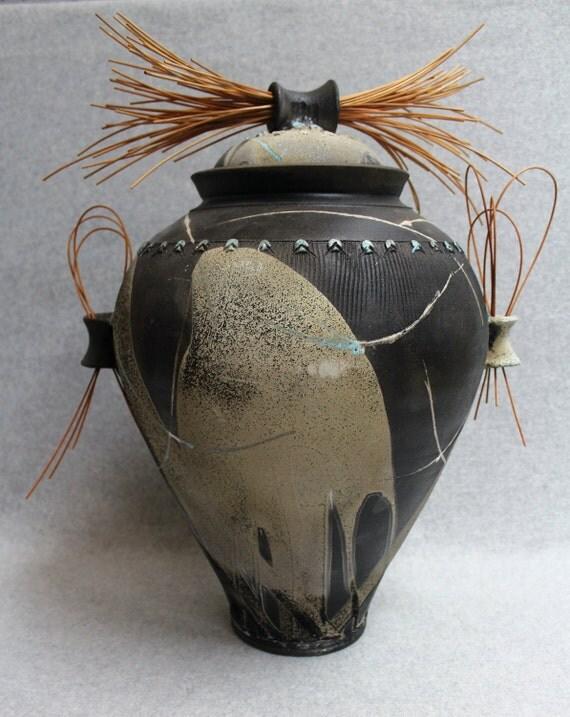 Large Raku Cover Jar with Reeds