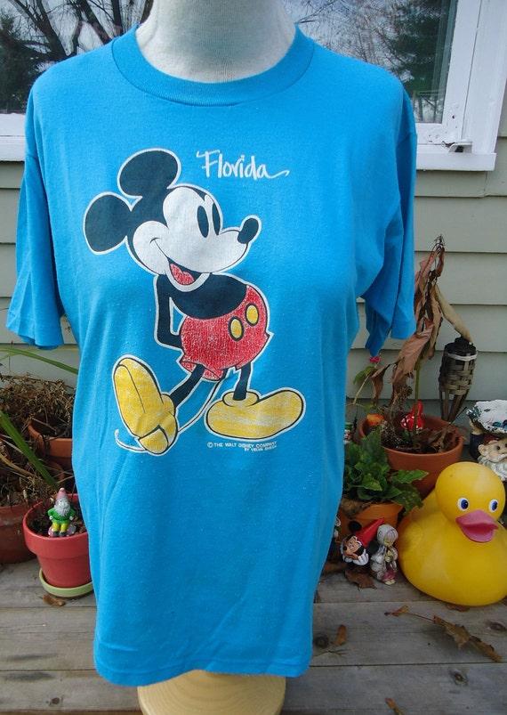 vintage tshirt MICKEY MOUSE shirt L large Walt Disney velva sheen blue