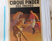 Vintage French Circus Poster - Tigers