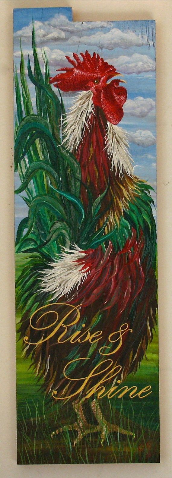 Rooster Rise and Shine  original acrylic  painting on reclaimed rustic solid wood board