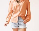 II S A L E II vintage 1970s blouse / 70s peach blouse / Just Peachy Blouse