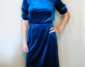 Vintage Blue Green Velvet Dress XS 80s Jodi Michaels