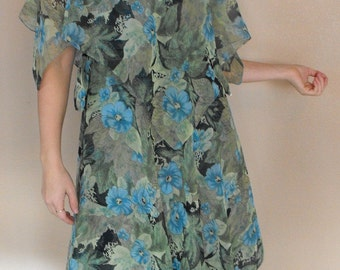 Green Blue Floral Print Flutter Maxi Vintage 70s Tiered Dress S