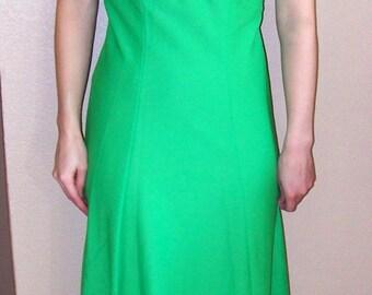 Green 70s Dress Dolly Retro Apple Maxi Eyelet Floral Collar S Vintage
