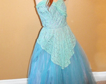 50s Blue Prom Dress Strapless Gown Lace Party Formal Vintage 1950s 34 Bust AS IS
